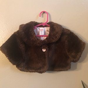 Gymboree brown faux teddy bear fur jacket size 5/6